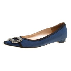 Navy Blue Satin Gotrian Crystal Embellished Pointed Toe Flats Size 36.5