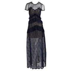 Navy Blue Self-Portrait Floral Lace Maxi Dress