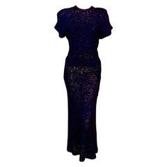 Navy Blue Silk Ribbon Dress Late 1930's
