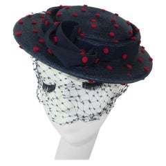 Navy Blue Straw Hat With Red Felt Polka Dots, C.1950