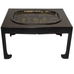 Navy Blue Tole Tray Table with Black Asian Style Stand, England, 19th Century