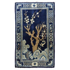 Navy Blue Tree Pattern Antique Chinese Rug