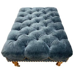 Navy Blue Velvet Tufted Four Foot Ottoman with Caster, Nailheads and Cording