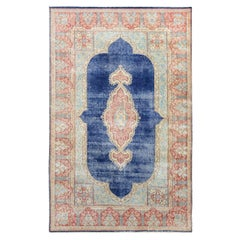 Navy Blue Vintage and Worn Down Persian Kerman Pure Wool Oriental Rug