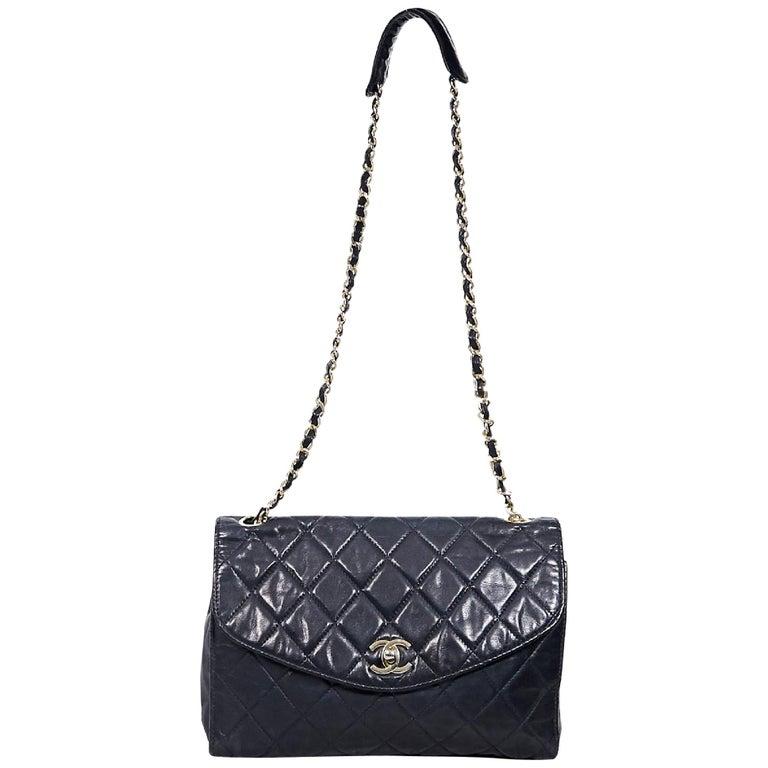 Navy Blue Vintage Chanel Quilted Leather Shoulder Bag For Sale at ... 3fdfe71633b8b
