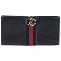 Navy Blue Vintage Gucci Leather Wallet