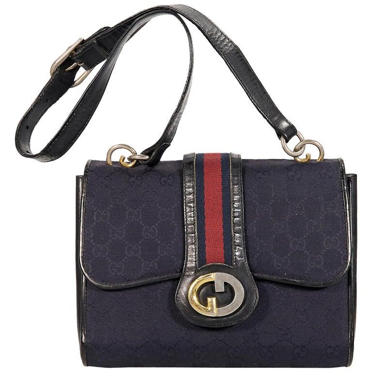 2e128d903 Navy Blue Vintage Gucci Shoulder Bag For Sale at 1stdibs
