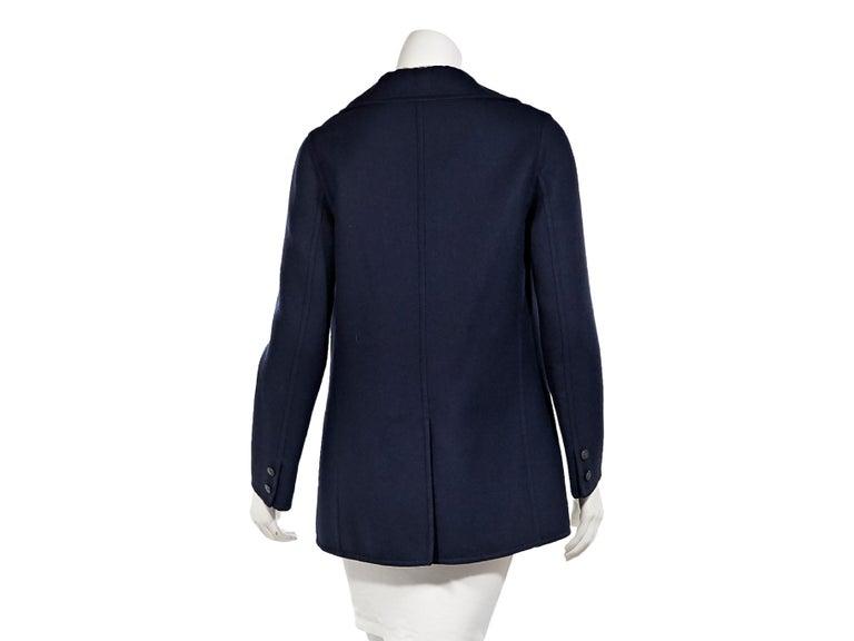 Black Navy Blue Vintage Hermes Wool Coat For Sale