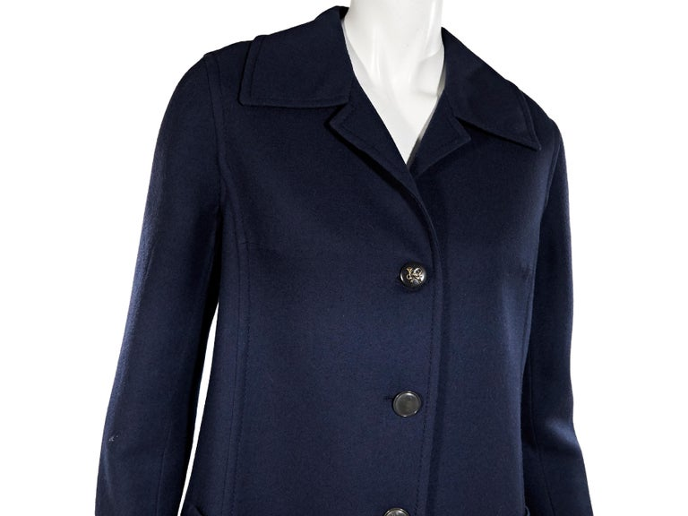 Navy Blue Vintage Hermes Wool Coat In Good Condition For Sale In New York, NY