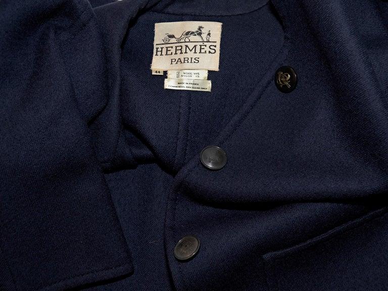 Women's Navy Blue Vintage Hermes Wool Coat For Sale