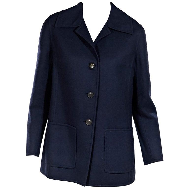 Navy Blue Vintage Hermes Wool Coat For Sale