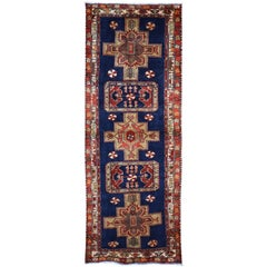 Navy Blue Vintage North West Persian Wide Runner Hand Knotted Oriental Tribal Ru