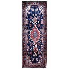 Navy Blue Vintage Persian Mahal Design Exc Condition Wide Runner Hand Knotted Or