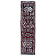Navy Blue Vintage Turkish Runner Village Hand Knotted Oriental Rug