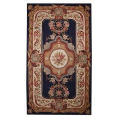 Navy Blue Wool Needlepoint Rug Traditional Aubusson Handmade Tapestry