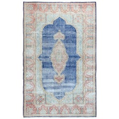 Navy Blue Worn Down and Vintage Clean Persian Kerman Pure Wool Hand Knotted Rug