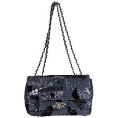 Navy Chanel Sequin-Embellished Camouflage Shoulder Bag