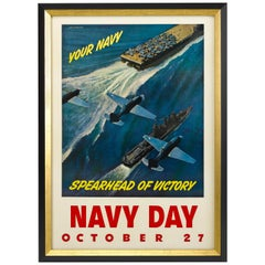 """Navy Day / October 27"" Vintage WWII Poster by John Falter, circa 1940s"