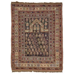 Navy Ground Antique Marasali Shirvan Prayer Rug, Hand Knotted, Wool Oriental Rug