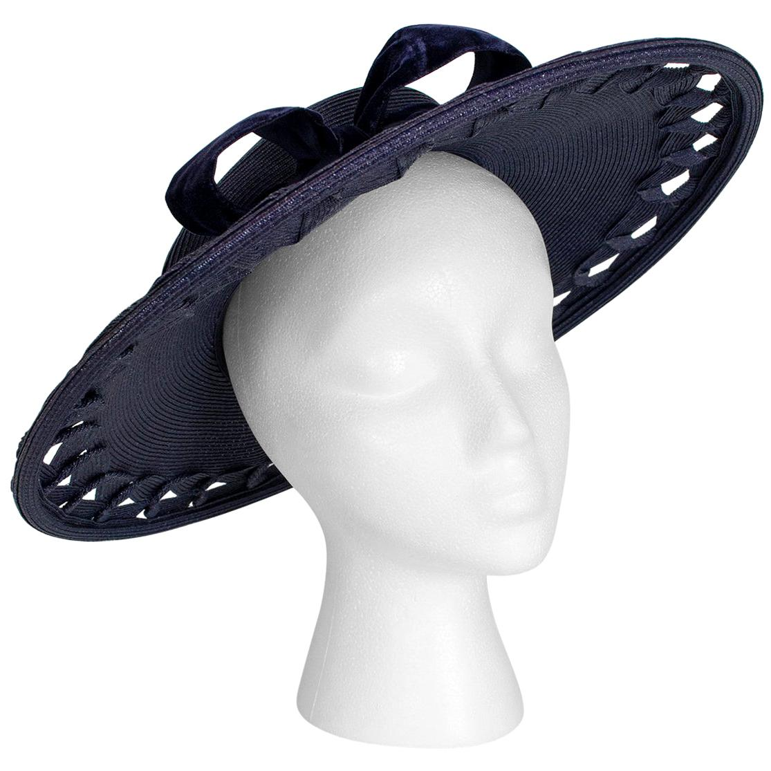 Navy Hole-Punched Straw Wide Brimmed Sun Hat, Oh La La! - Small, 1950s