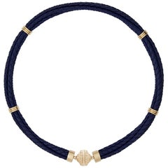 Navy Braided Leather Necklace