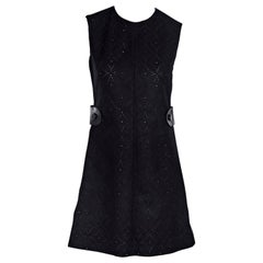 Navy Louis Vuitton Embellished Wool Sheath Dress