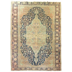 Navy Mint Green Terracotta Color Shabby Chic Antique Persian Rug