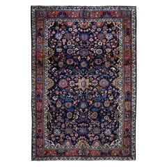 """Navy Persian Mahal Pure Wool Hand Knotted Oriental Rug, 6'9"""" x 10'10"""""""