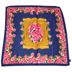 Navy on Navy Floral Borders with Bold Roses Scarf