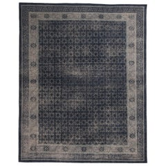 Khotan Navy Smoke Blue Wool Rug from the Homage Collection by Rug & Kilim