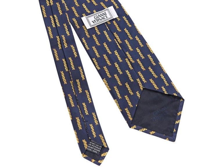 Black Versace Navy Silk Patterned Tie For Sale