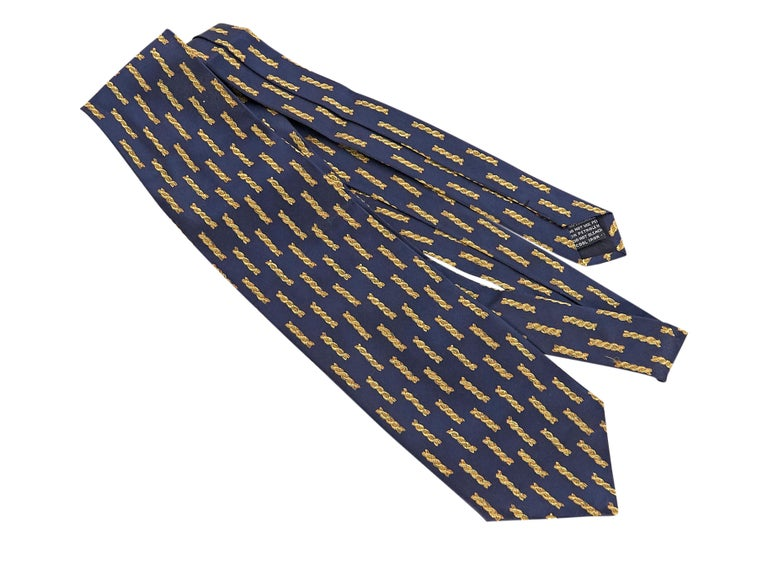 Versace Navy Silk Patterned Tie In Good Condition For Sale In New York, NY
