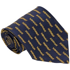 Versace Navy Silk Patterned Tie