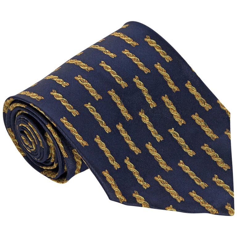 Versace Navy Silk Patterned Tie For Sale