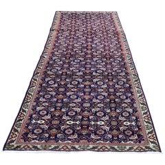 Navy Vintage Persian Fish Design Tabriz Hand Knotted Runner Oriental Rug