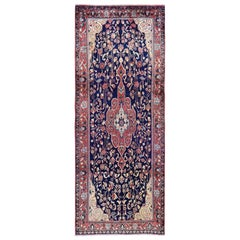Navy Vintage Persian Sarouk Wide Runner Pure Wool Hand Knotted Oriental Rug