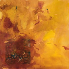 Fragment 2: abstract expressionism oil painting w/ collage on panel, gold