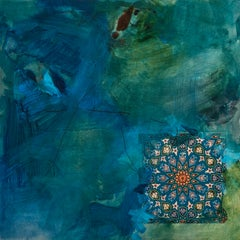 Fragment 3: abstract expressionist oil painting w/ collage on panel, blue green