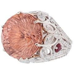 Nazarelle 14 Karat White and Rose Gold 23.40Ct Morganite Diamond and Ruby Ring