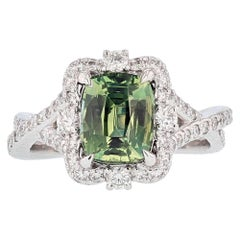 Nazarelle 14 Karat Gold Cushion Cut Green Sapphire and Diamond Ring