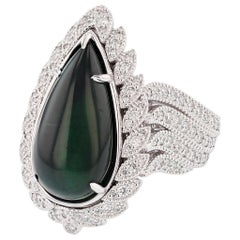 Nazarelle 14 Karat Gold Pear Shape 11.48 Carat Green Tourmaline and Diamond Ring
