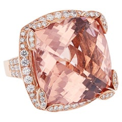 Nazarelle 14 Karat Rose Gold 41.10 Cushion Morganite and Diamond Ring