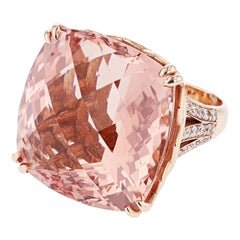 Nazarelle 14 Karat Rose Gold 60.63 Carat Cushion Cut Morganite and Diamond Ring