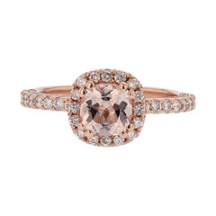 Nazarelle 14 Karat Rose Gold Cushion Morganite and Diamond Ring