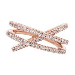 Nazarelle 14 Karat Rose Gold Diamond Criss Cross Ring