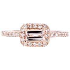 Nazarelle 14 Karat Rose Gold Emerald Morganite and Diamond Ring