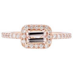 Nazarelle 14 Karat Rose Gold Emerald Morganite Diamond Ring