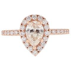 Nazarelle 14 Karat Rose Gold GIA Pear Shaped Diamond Engagement Ring