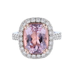 Nazarelle 14 Karat White and Rose Gold Cushion Morganite and Diamond Ring