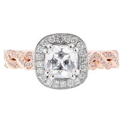 Nazarelle 14 Karat White and Rose Gold Diamond Twist Engagement Ring
